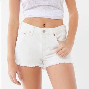 Levi's 501 White Denim Shorts